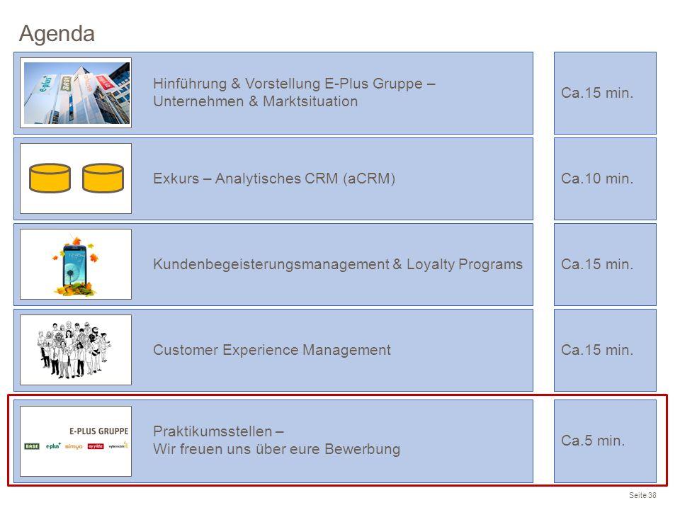 Agenda Hinführung & Vorstellung E-Plus Gruppe – Unternehmen & Marktsituation. Ca.15 min. Exkurs – Analytisches CRM (aCRM)