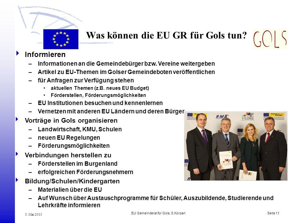 Was können die EU GR für Gols tun