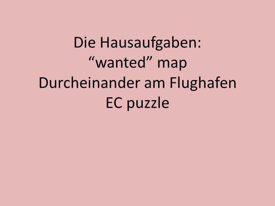Die Hausaufgaben: wanted map Durcheinander am Flughafen EC puzzle