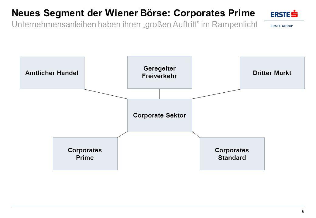Neues Segment der Wiener Börse: Corporates Prime