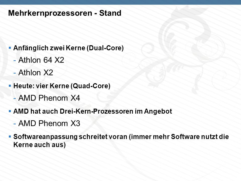 Mehrkernprozessoren - Stand