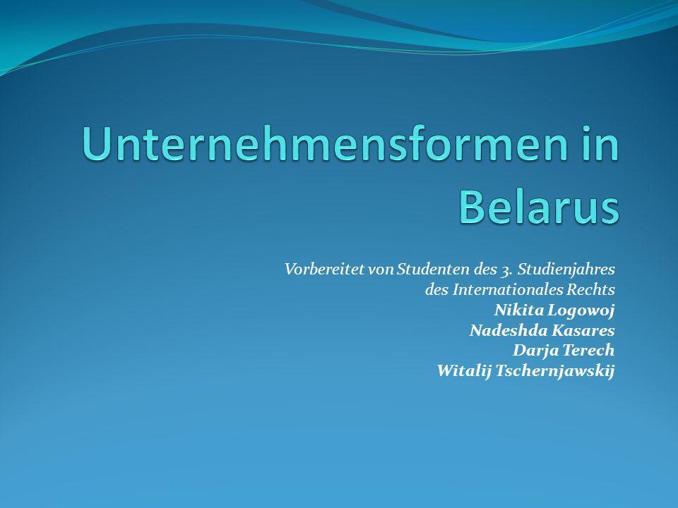 Unternehmensformen in Belarus