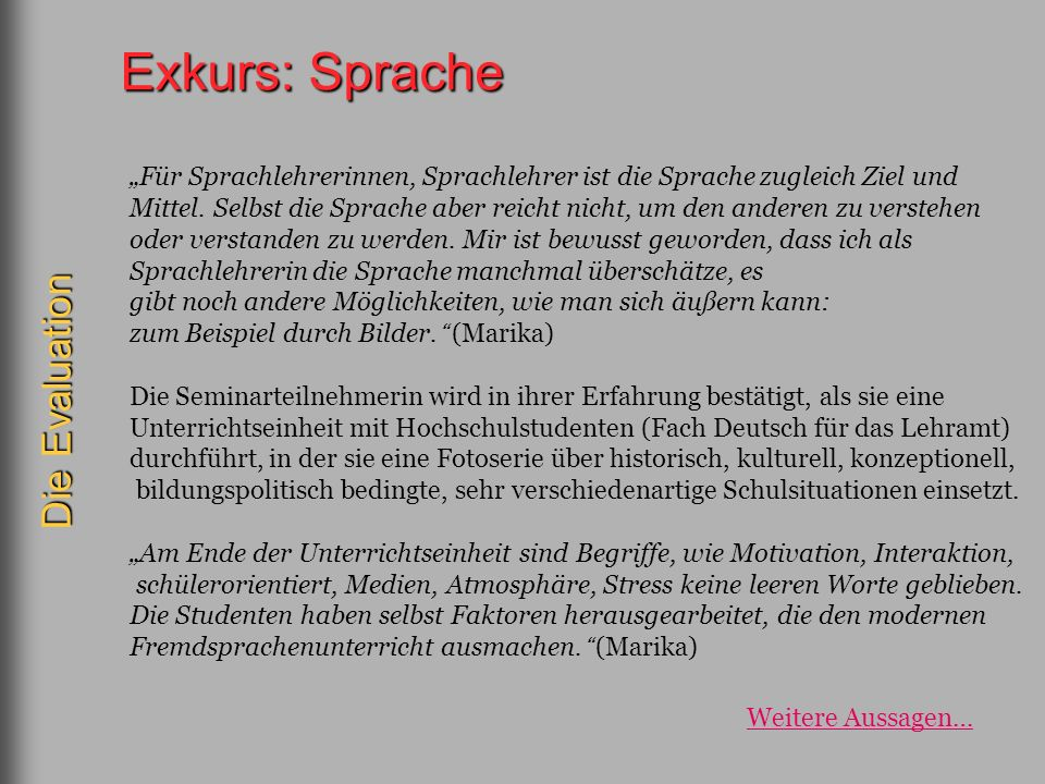 Exkurs: Sprache Die Evaluation