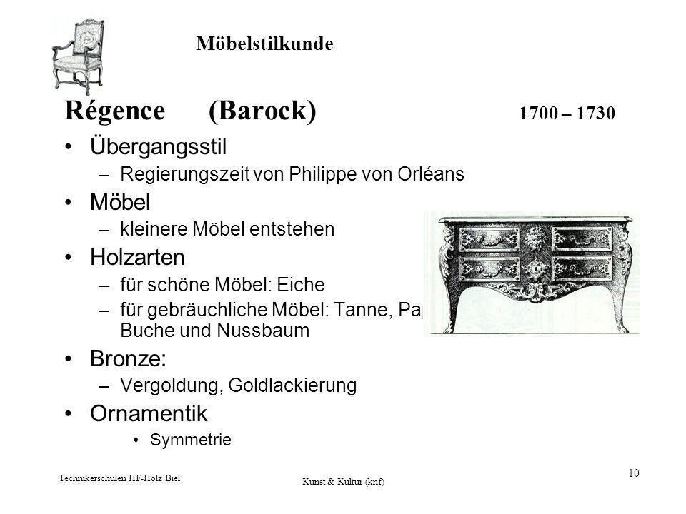 Régence (Barock) 1700 – 1730 Übergangsstil Möbel Holzarten Bronze: