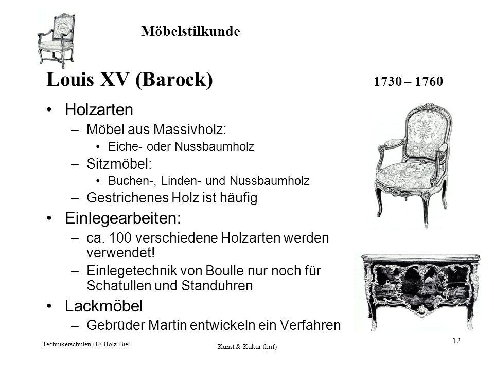 Louis XV (Barock) 1730 – 1760 Holzarten Einlegearbeiten: Lackmöbel