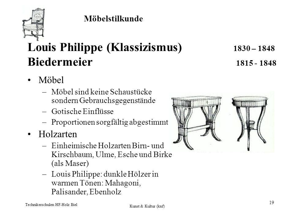 Louis Philippe (Klassizismus) 1830 – 1848 Biedermeier 1815 - 1848