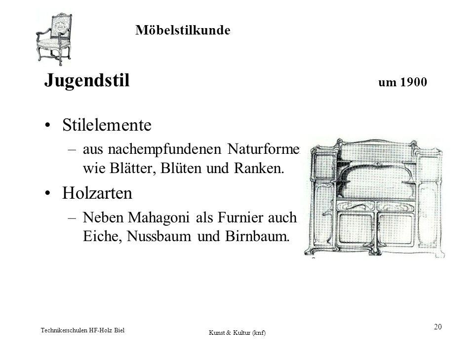 Jugendstil um 1900 Stilelemente Holzarten