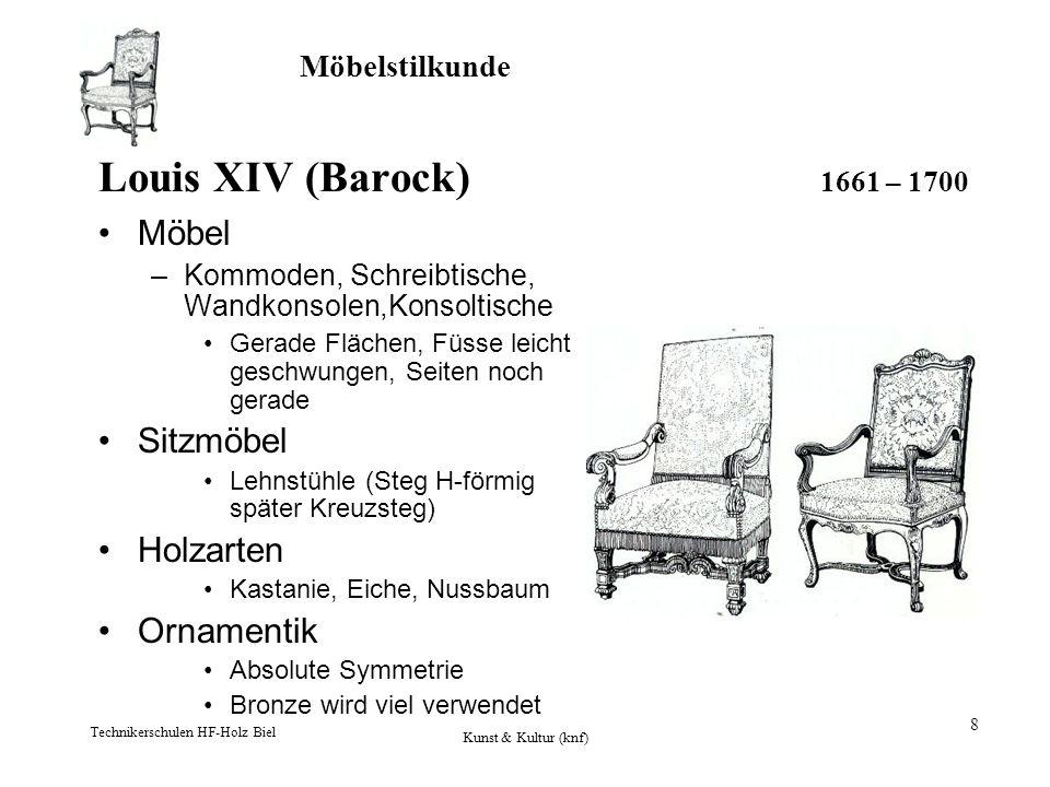 Louis XIV (Barock) 1661 – 1700 Möbel Sitzmöbel Holzarten Ornamentik