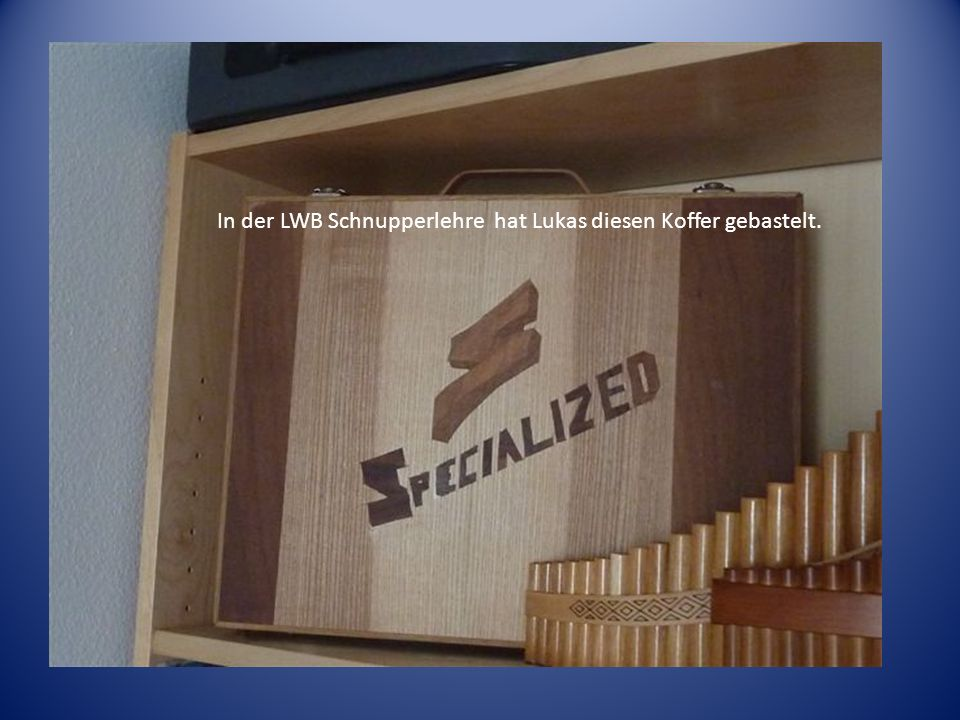 In der LWB Schnupperlehre hat Lukas diesen Koffer gebastelt.