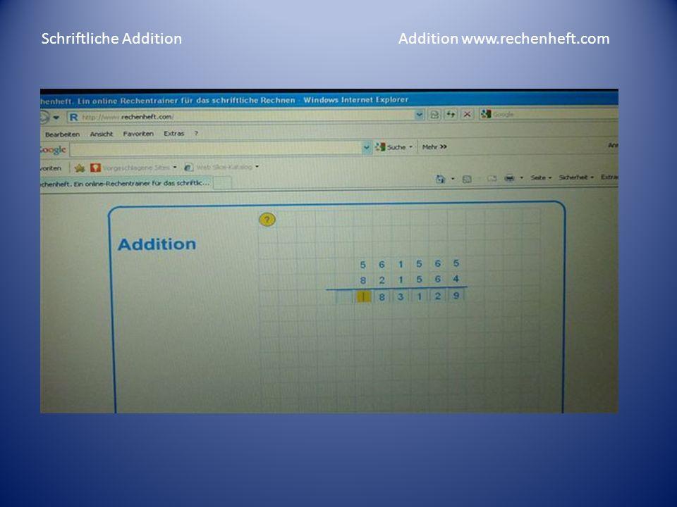 Schriftliche Addition Addition www.rechenheft.com