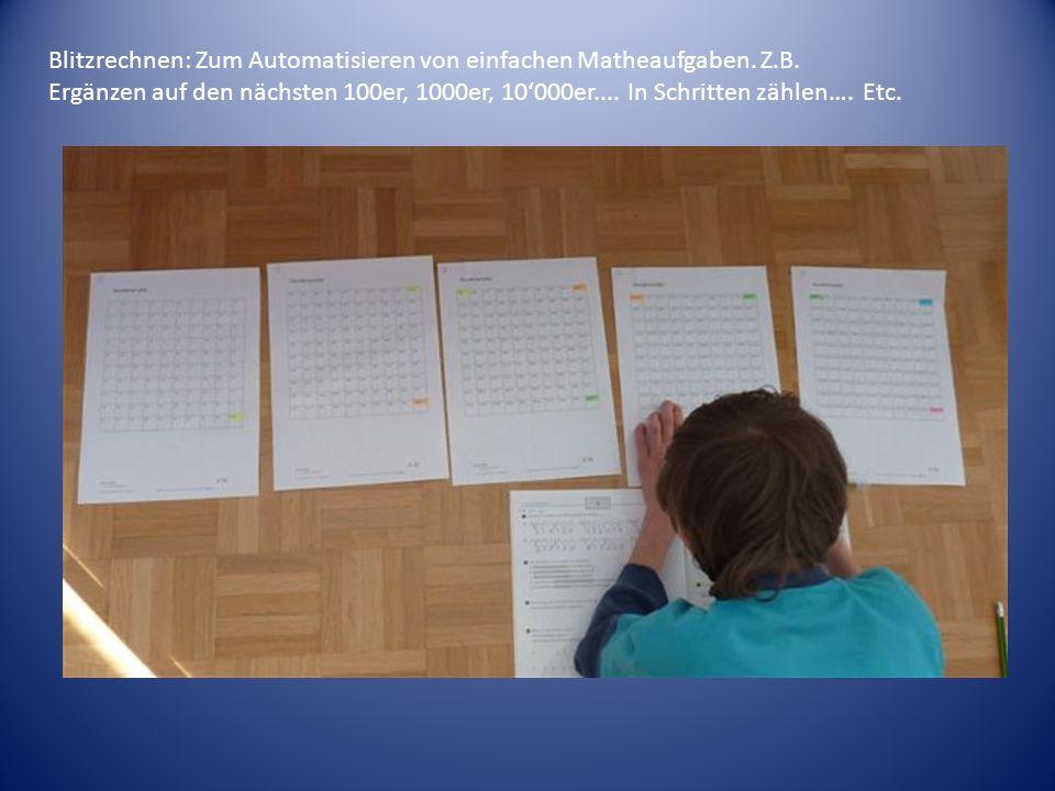 Blitzrechnen: Zum Automatisieren von einfachen Matheaufgaben. Z.B.