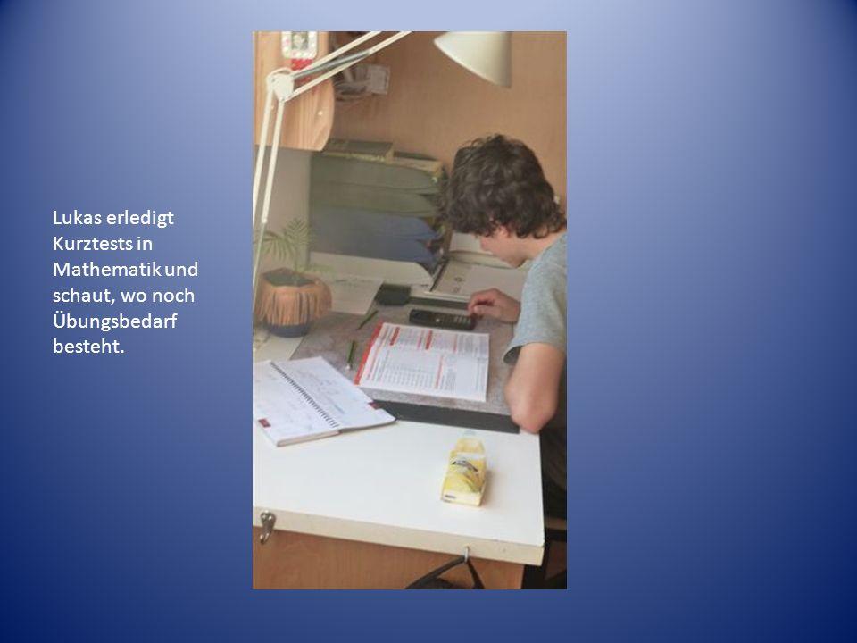 Lukas erledigt Kurztests in Mathematik und schaut, wo noch Übungsbedarf besteht.