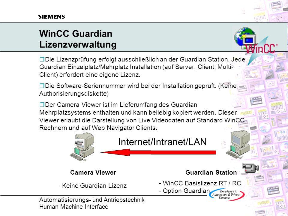 WinCC Guardian Lizenzverwaltung