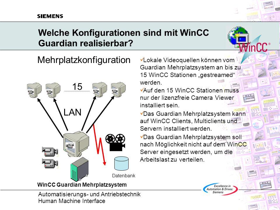 Welche Konfigurationen sind mit WinCC Guardian realisierbar