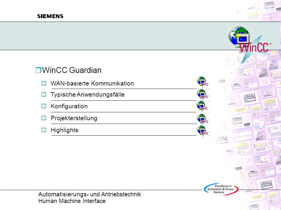 WinCC Guardian WAN-basierte Kommunikation Typische Anwendungsfälle