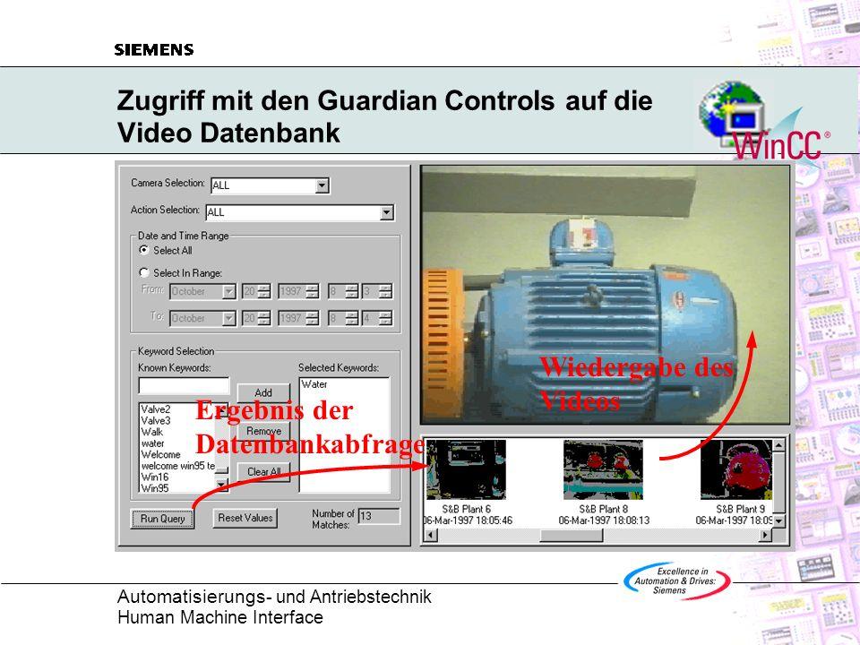Zugriff mit den Guardian Controls auf die Video Datenbank