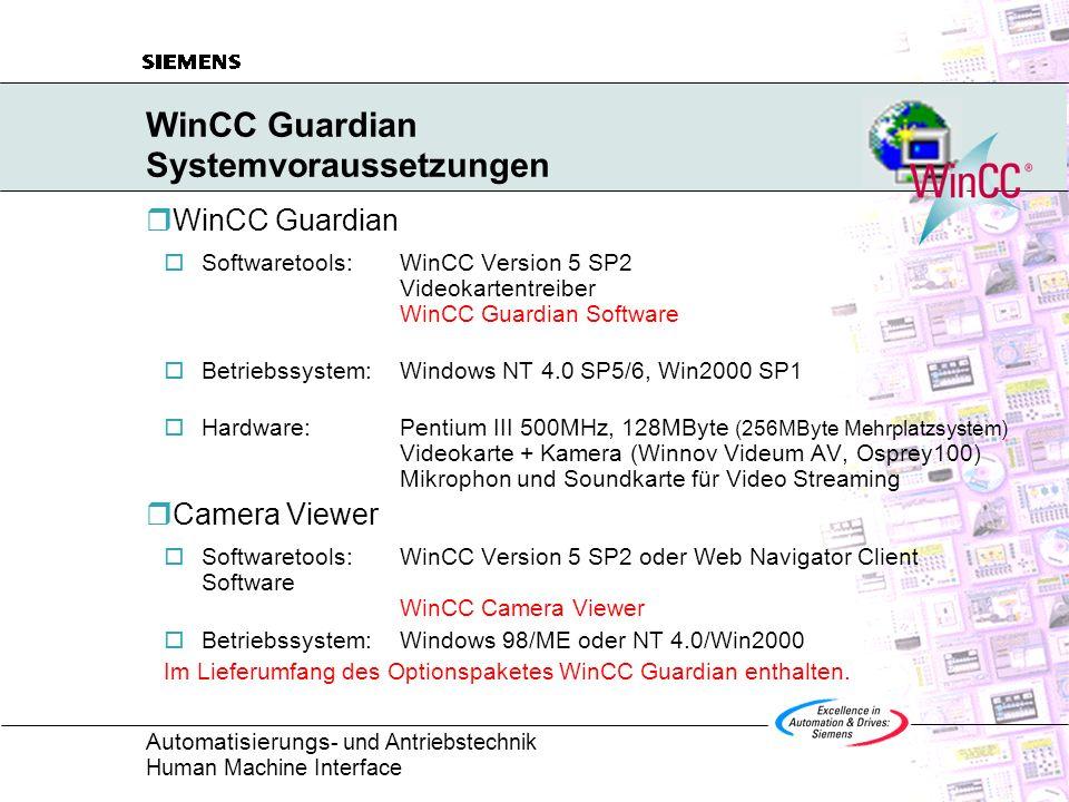 WinCC Guardian Systemvoraussetzungen