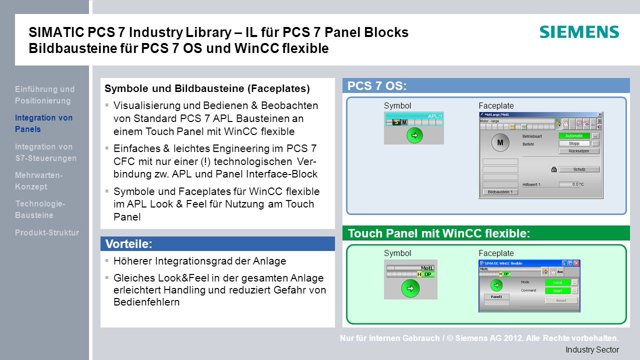 SIMATIC PCS 7 Industry Library – IL für PCS 7 Panel Blocks Bildbausteine für PCS 7 OS und WinCC flexible