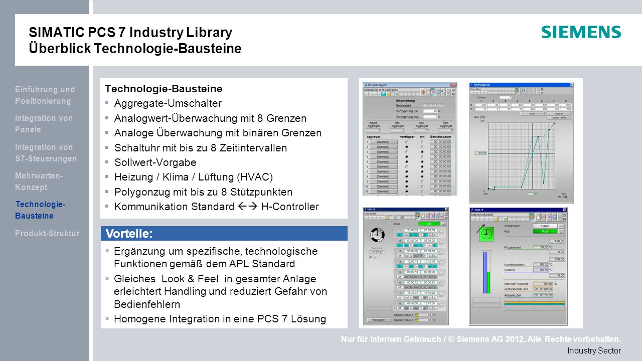 SIMATIC PCS 7 Industry Library Überblick Technologie-Bausteine