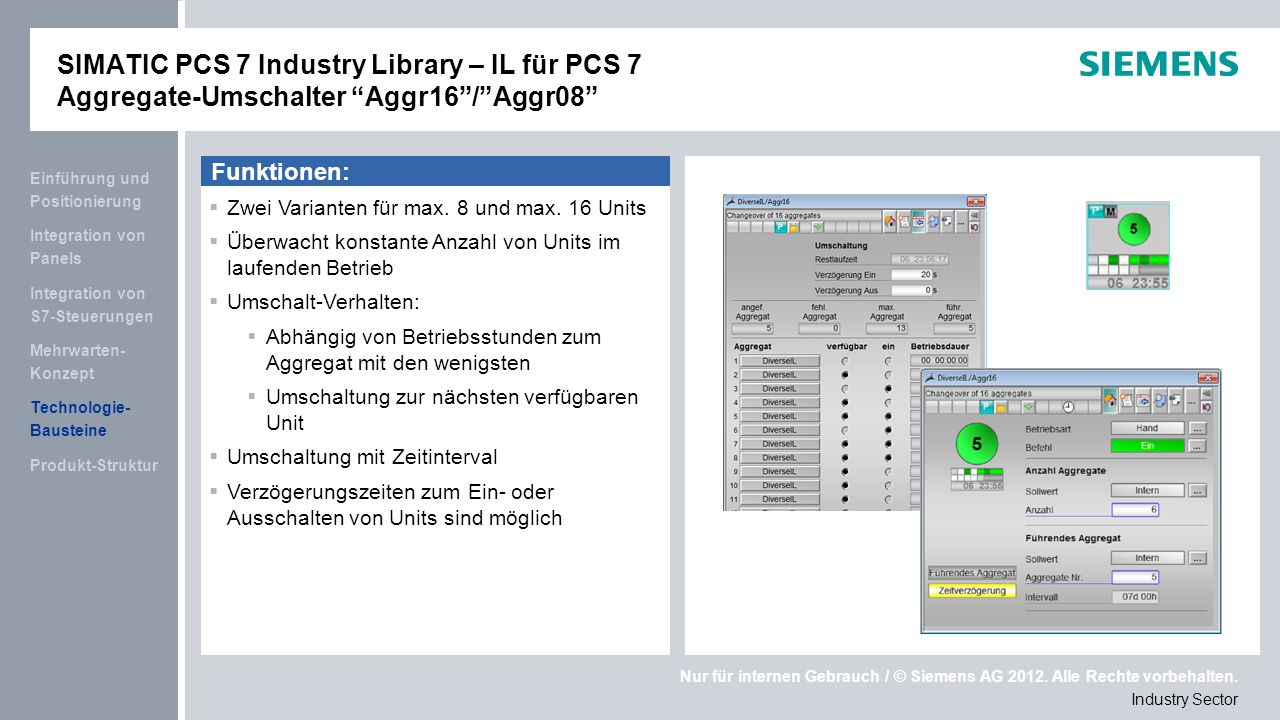 SIMATIC PCS 7 Industry Library – IL für PCS 7 Aggregate-Umschalter Aggr16 / Aggr08