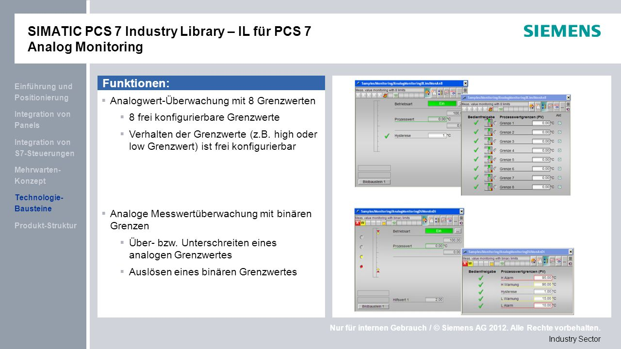 SIMATIC PCS 7 Industry Library – IL für PCS 7 Analog Monitoring