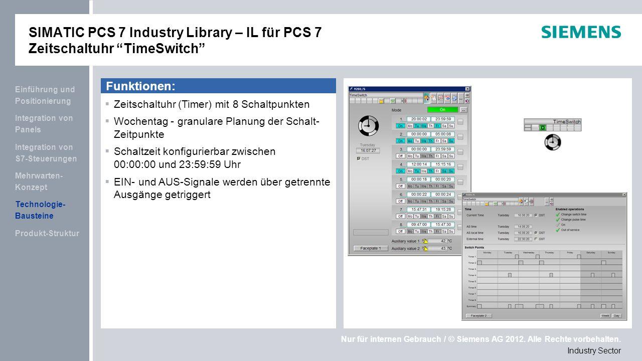 SIMATIC PCS 7 Industry Library – IL für PCS 7 Zeitschaltuhr TimeSwitch