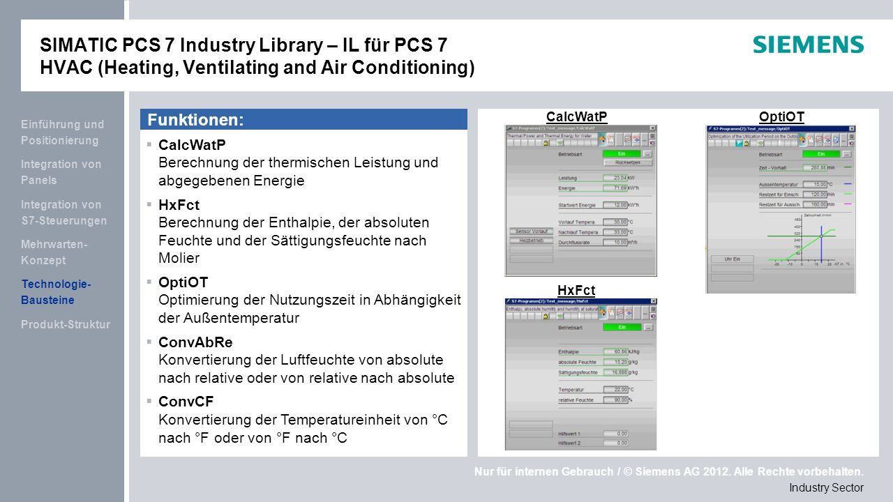 SIMATIC PCS 7 Industry Library – IL für PCS 7 HVAC (Heating, Ventilating and Air Conditioning)