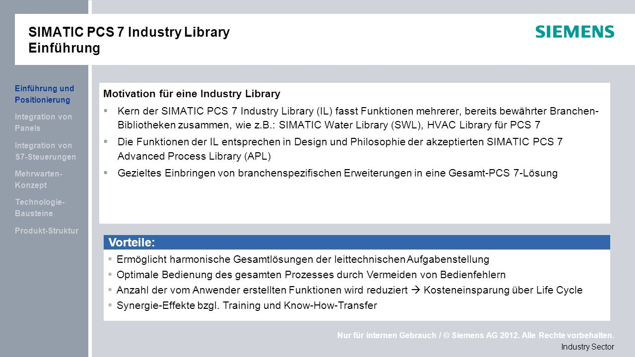SIMATIC PCS 7 Industry Library Einführung