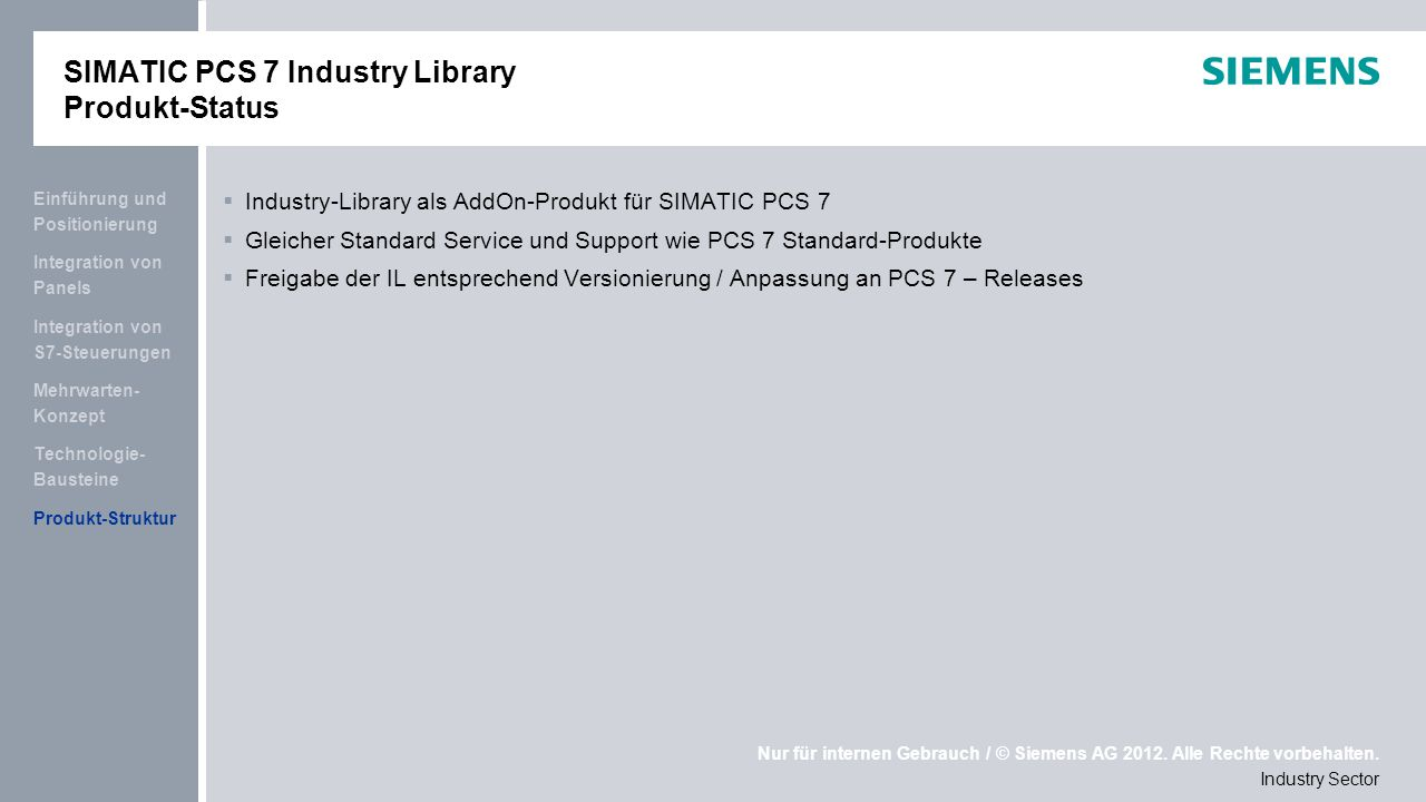 SIMATIC PCS 7 Industry Library Produkt-Status