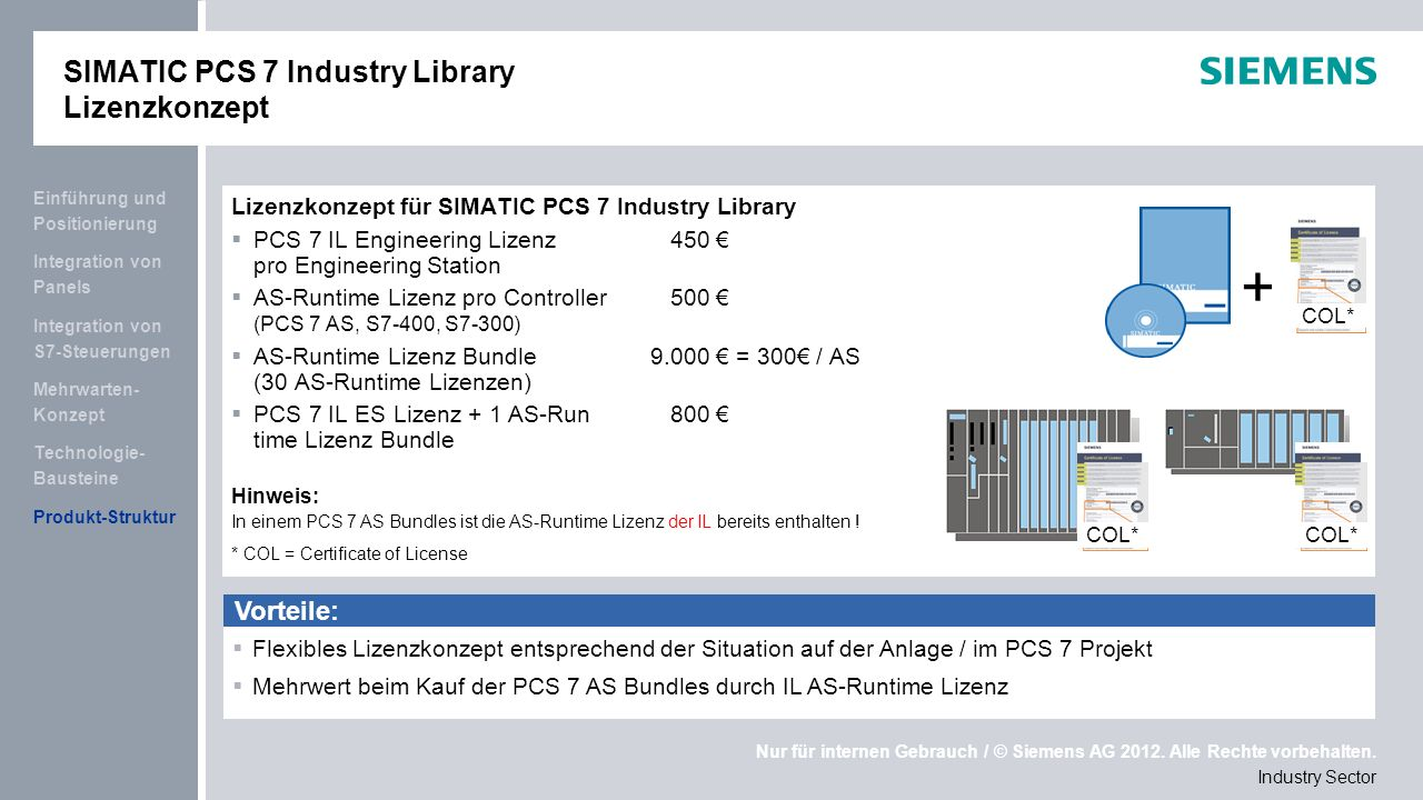 SIMATIC PCS 7 Industry Library Lizenzkonzept