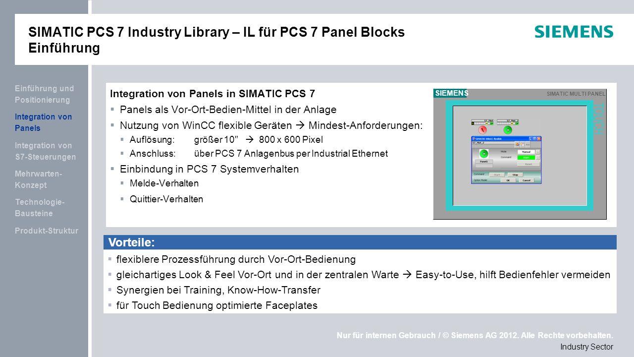 SIMATIC PCS 7 Industry Library – IL für PCS 7 Panel Blocks Einführung