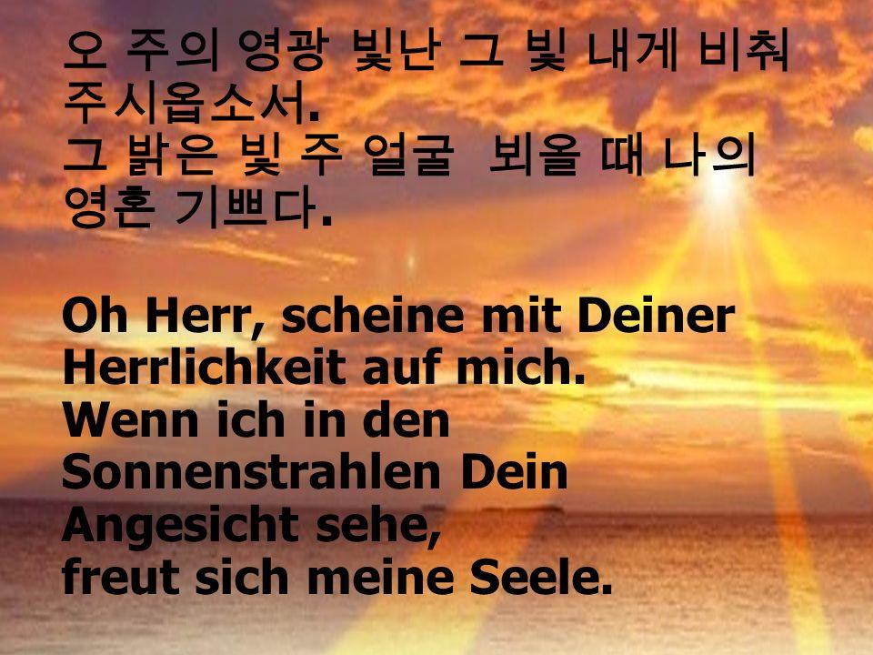 오 주의 영광 빛난 그 빛 내게 비춰 주시옵소서. 그 밝은 빛 주 얼굴 뵈올 때 나의 영혼 기쁘다. Oh Herr, scheine mit Deiner Herrlichkeit auf mich.