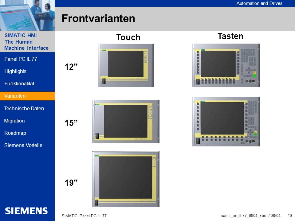Frontvarianten Tasten Touch 12 15 19 Panel PC IL 77 Highlights