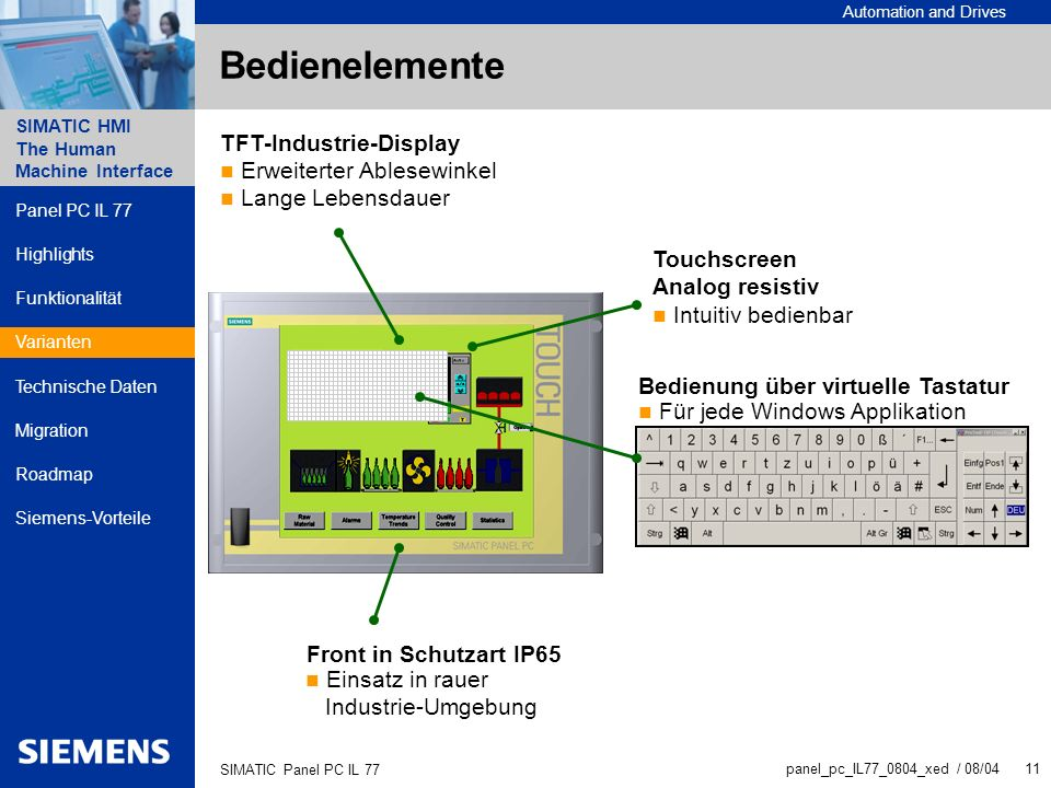 Bedienelemente TFT-Industrie-Display Erweiterter Ablesewinkel