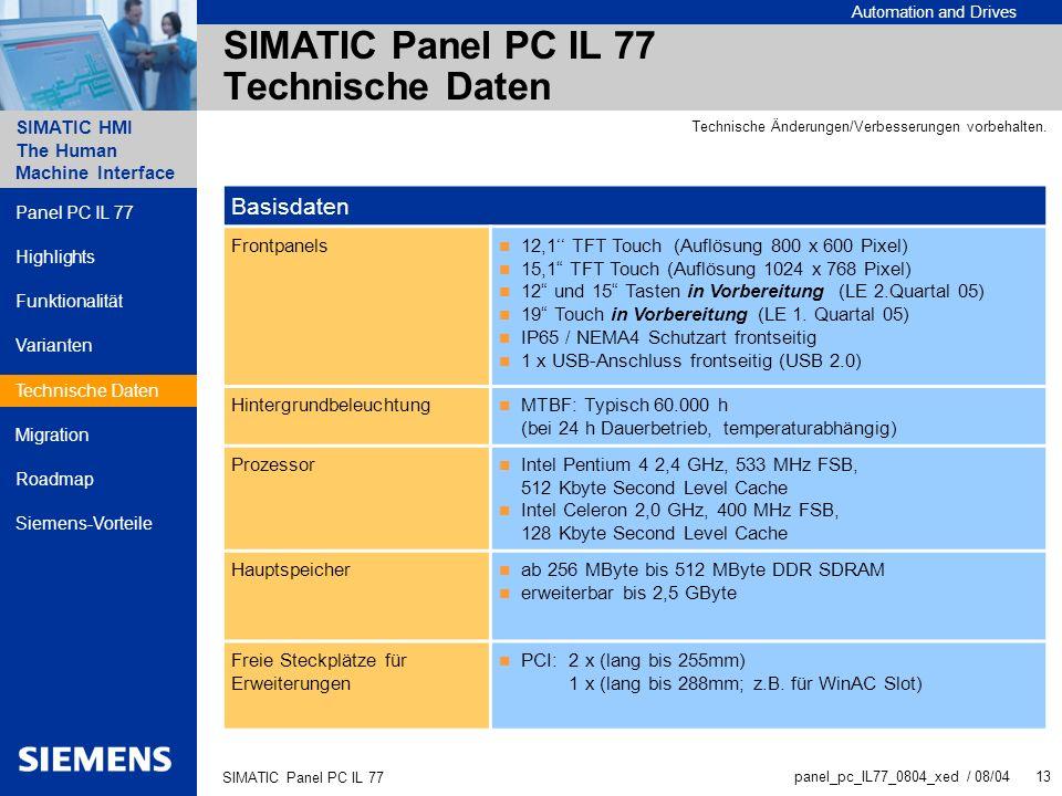 SIMATIC Panel PC IL 77 Technische Daten