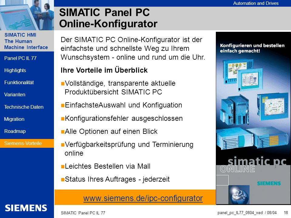 SIMATIC Panel PC Online-Konfigurator