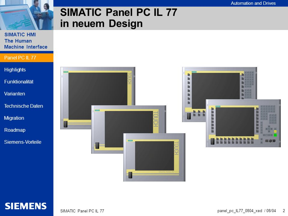 SIMATIC Panel PC IL 77 in neuem Design
