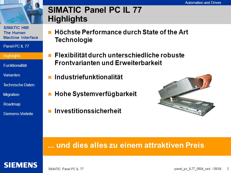 SIMATIC Panel PC IL 77 Highlights