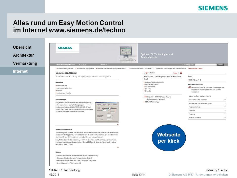 Alles rund um Easy Motion Control im Internet www.siemens.de/techno