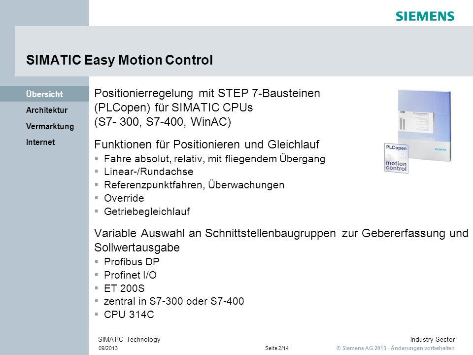 SIMATIC Easy Motion Control