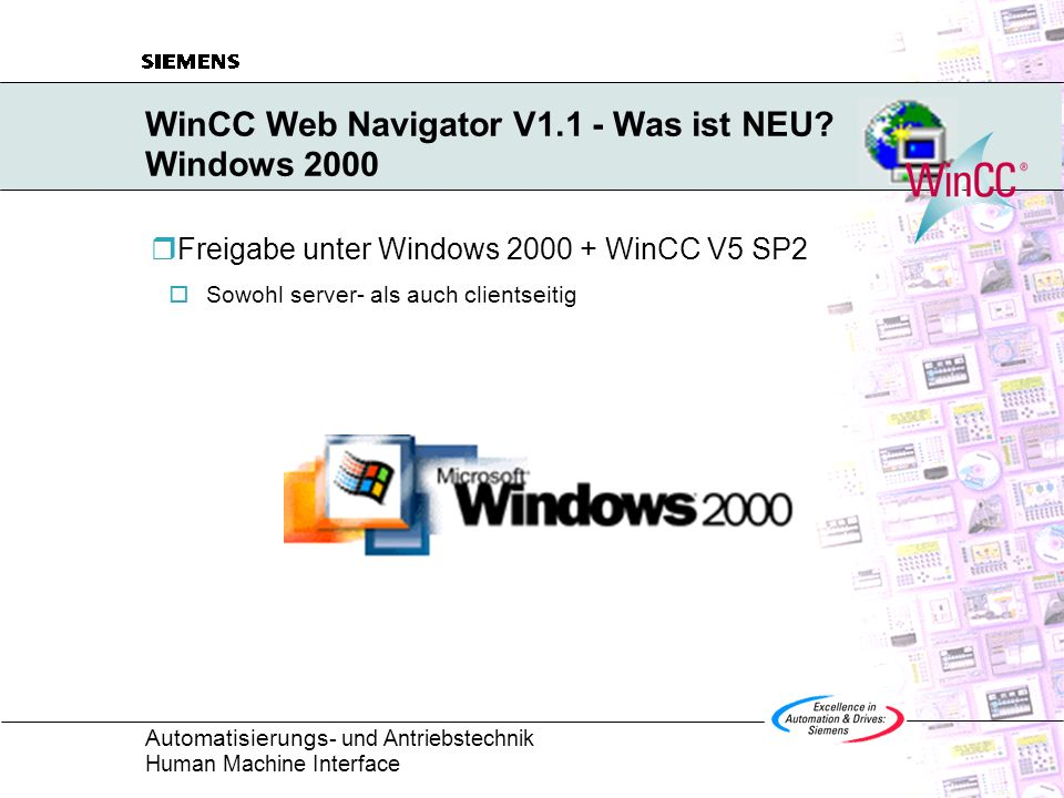 WinCC Web Navigator V1.1 - Was ist NEU Windows 2000