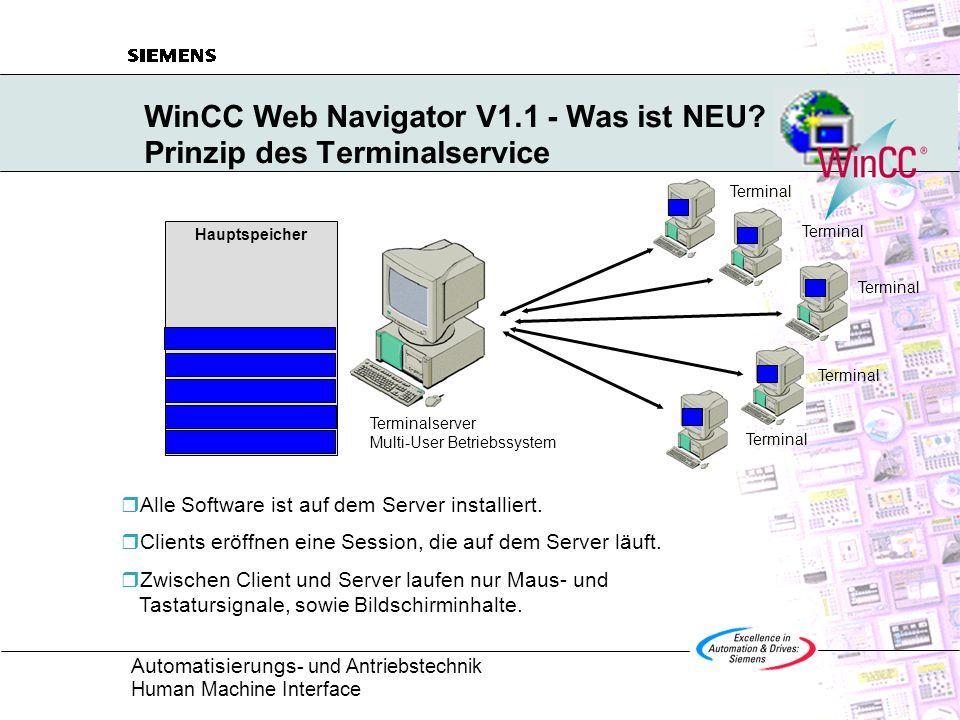 WinCC Web Navigator V1.1 - Was ist NEU Prinzip des Terminalservice