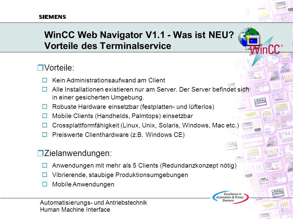 WinCC Web Navigator V1.1 - Was ist NEU Vorteile des Terminalservice