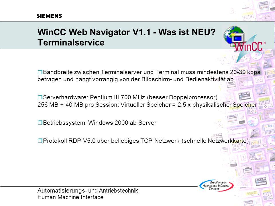 WinCC Web Navigator V1.1 - Was ist NEU Terminalservice