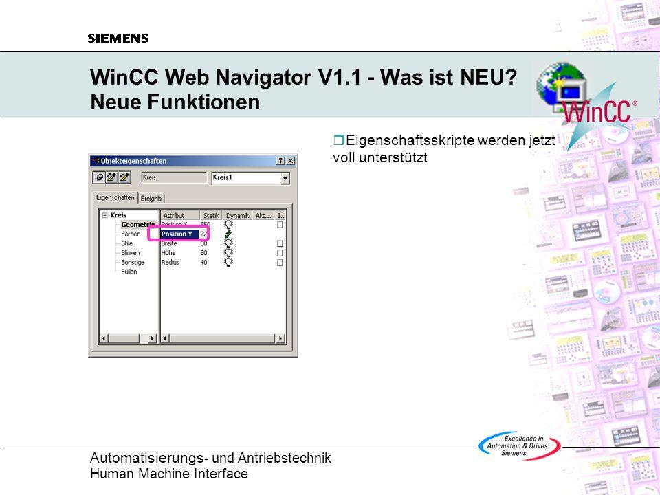 WinCC Web Navigator V1.1 - Was ist NEU Neue Funktionen