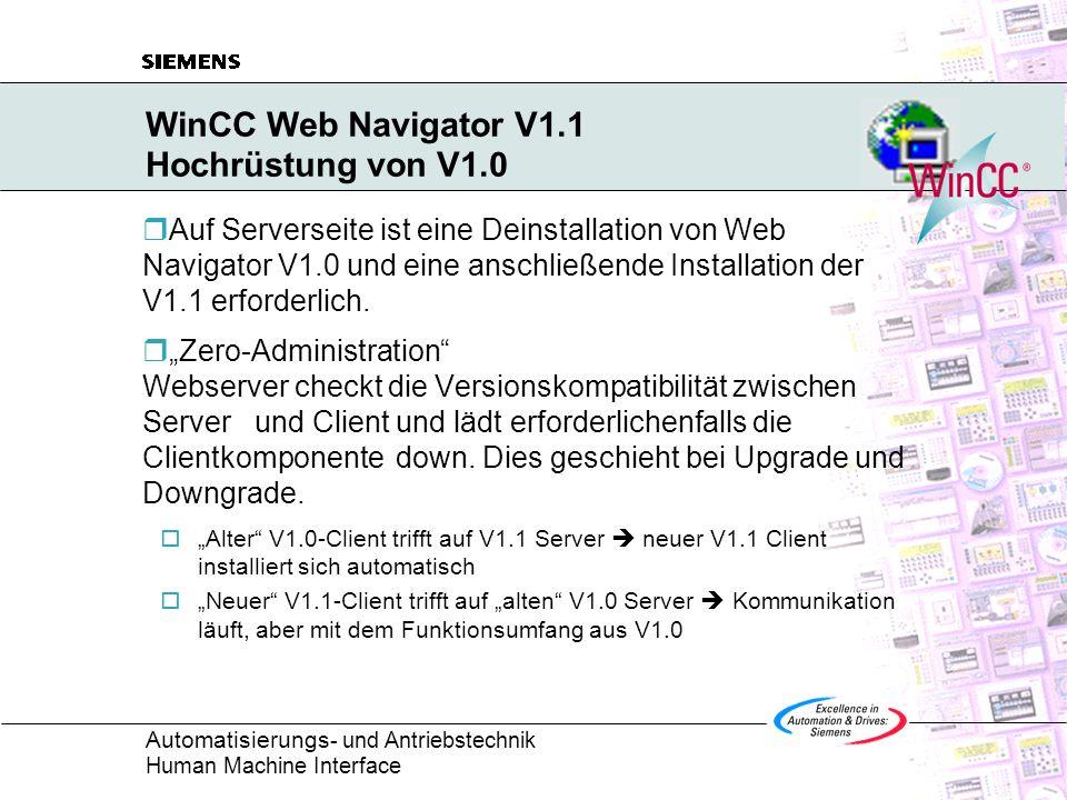 WinCC Web Navigator V1.1 Hochrüstung von V1.0