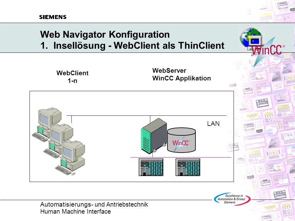 Web Navigator Konfiguration 1. Insellösung - WebClient als ThinClient