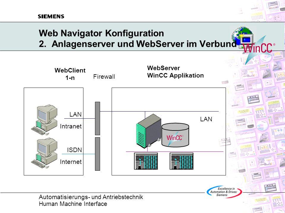 Web Navigator Konfiguration 2. Anlagenserver und WebServer im Verbund