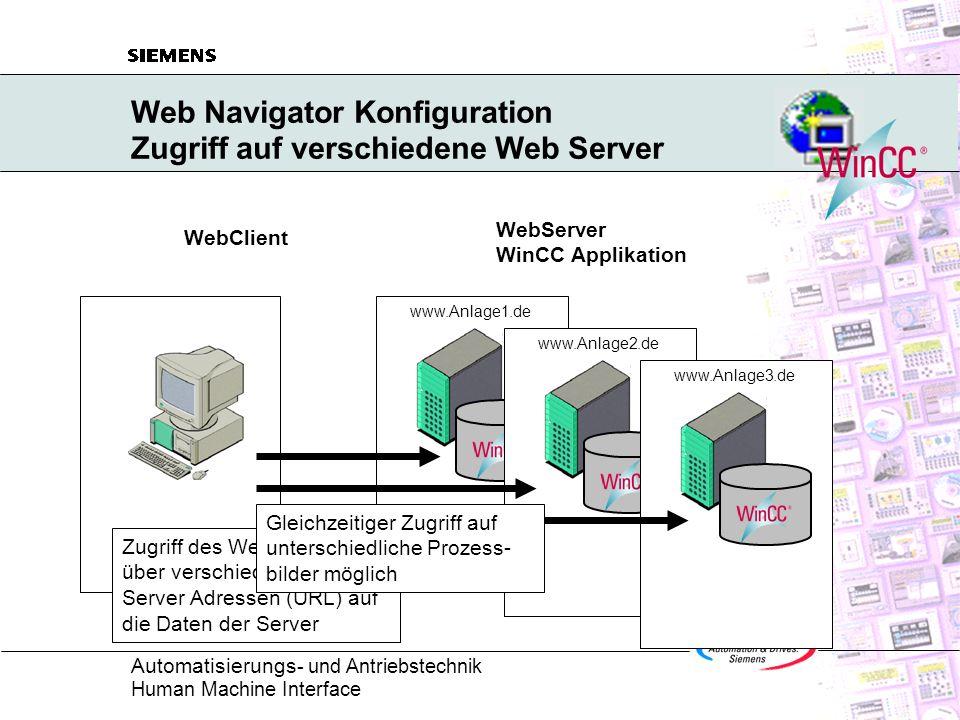 Web Navigator Konfiguration Zugriff auf verschiedene Web Server