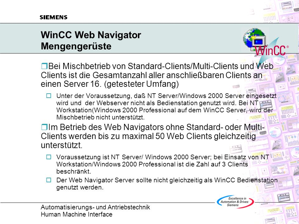 WinCC Web Navigator Mengengerüste